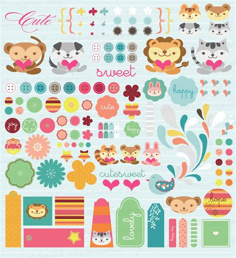 printable stickers cute cute digital printable scrapbook elements stickers by justarpi
