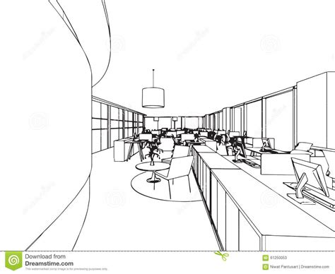 Office Canteen Design interior office outline drawing sketch stock vector