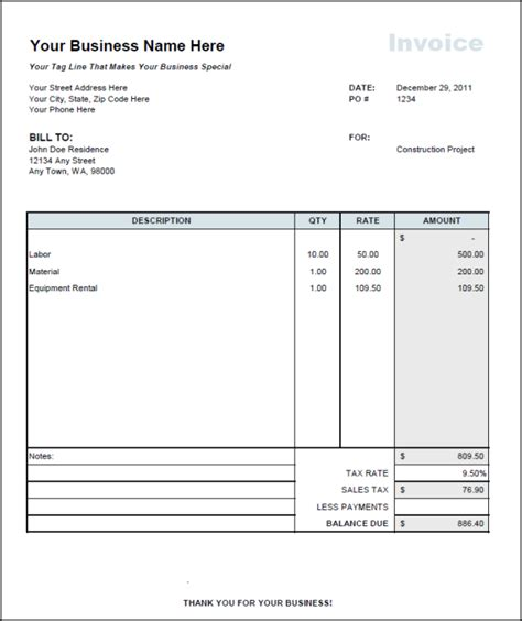 contractor invoice template invoice example
