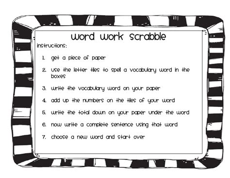 scrabble word direction word work part 2 and freebie 4th grade frolics