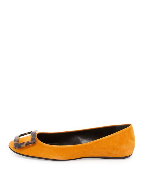 orange shoes flats roger vivier gommette suede ballet flats in orange lyst
