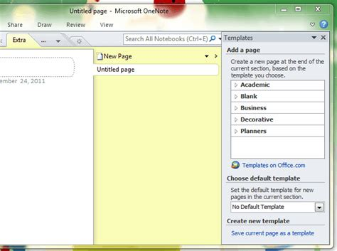 how to set default template for new pages in onenote