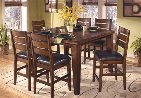 pub table with leaf and chairs larchmont 7pc counter height dining set