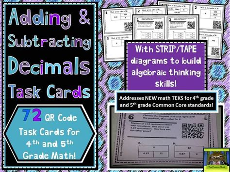 diagram common subtraction add subtract decimals qr task cards with diagrams new math teks equation