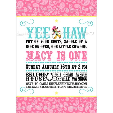 cowgirl birthday invitation digital printable dimple