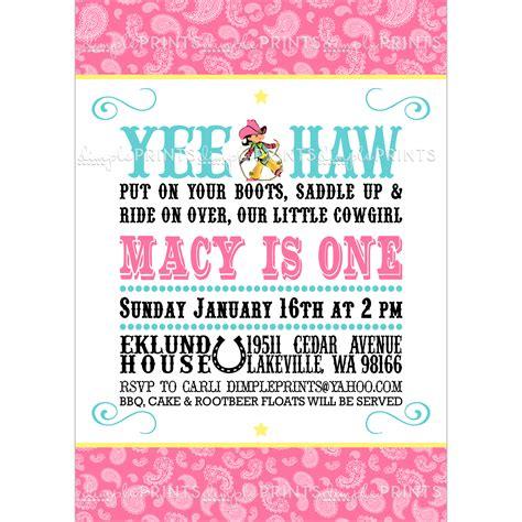 cowgirl birthday invitation digital printable dimple