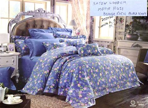Sprei Motif Kingkoil Bahan Katun Warna Warni sprei cantik motif bunga kecil biru abu sprei lovina