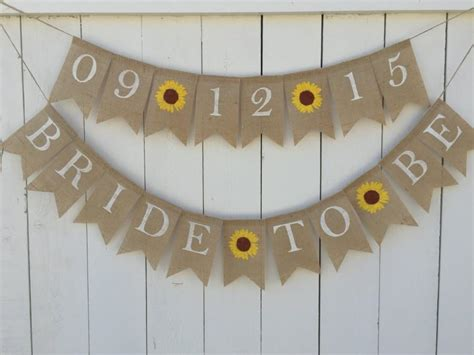 Wedding Shower Banner Sayings by To Be Banner Burlap Bridal Shower Banner Sunflower