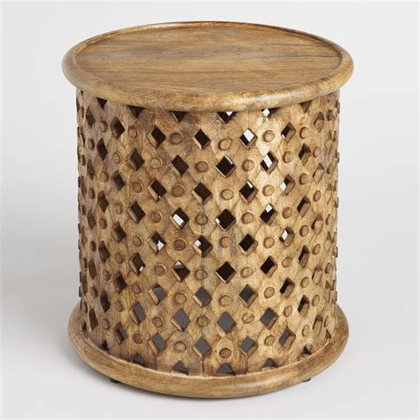wooden accent tables tribal carved wood accent table world market