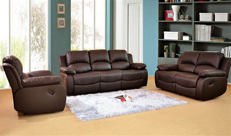 valencia   leather recliner sofa suite brown ebay