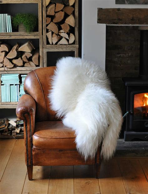 large long coat icelandic sheepskin throw rug white home barn vintage