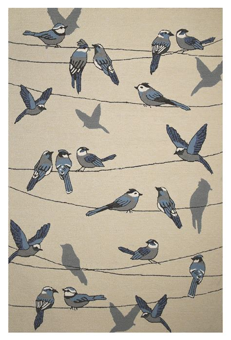Rugs With Birds by Kas Harbor 4221 Ivory Birds On A Wire Area Rug