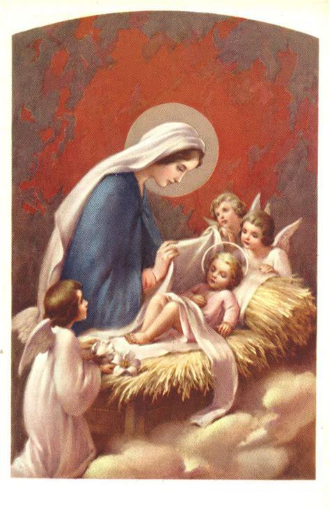 imagenes catolicas antiguas postal religiosa antigua de la virgen y jesus