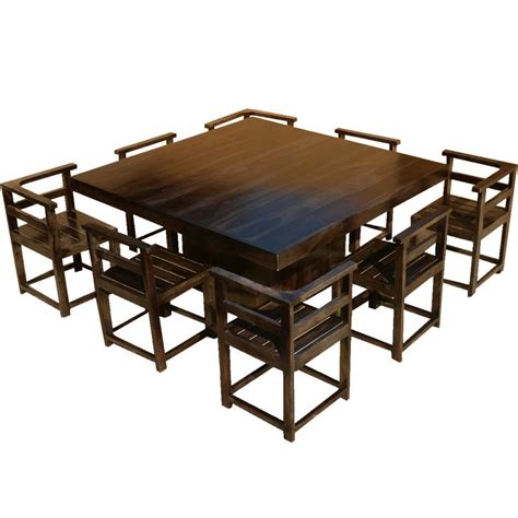 8 Chair Square Dining Table Modern Rustic Solid Wood 64 Square Pedestal Dining Table W 8 Chairs Ebay
