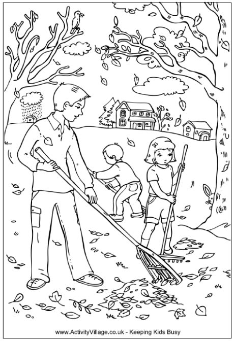 autumn scene coloring pages raking leaves colouring pages