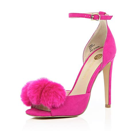 Heels Pome river island bright pink pom pom barely there heels in