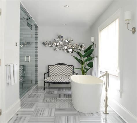 modern french bathroom gray bathroom with gray chevron french settee
