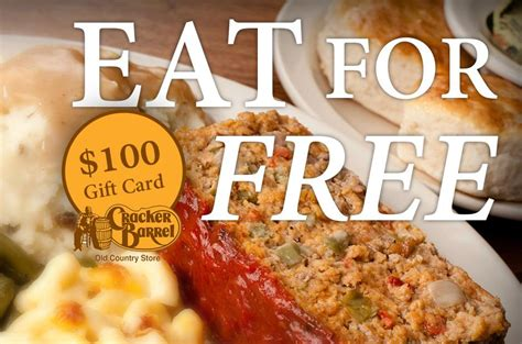 Cracker Barrell Gift Card - get a free cracker barrel gift card