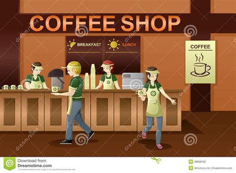 People Working In A Coffee Shop Stock Vector   Image: 38898182