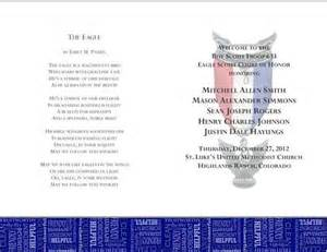 eagle scout court of honor program template eagle scout scouts and eagles on