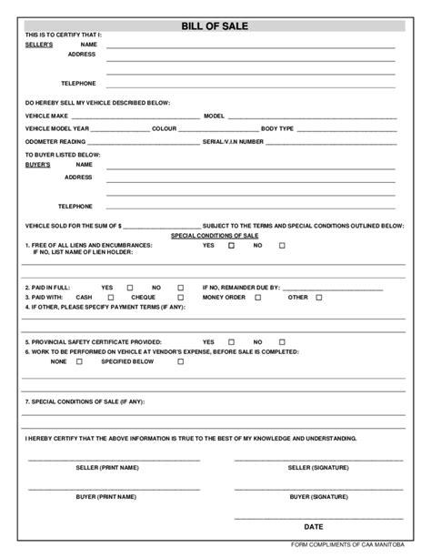 Printable Bill Of Sale Car Manitoba | vehicle bill of sale template manitoba free download