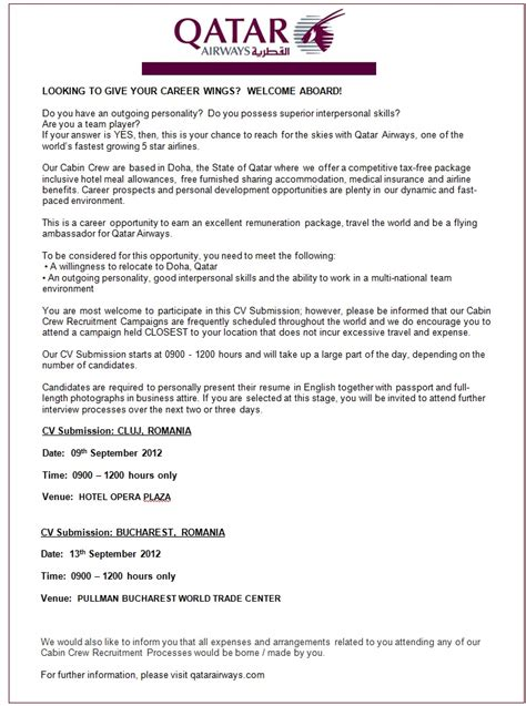 Offer Letter Format Qatar Flying Ambassador For Qatar Airways Qatar Airways Apply On Ejobs