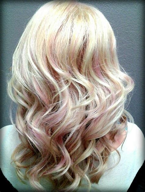 light pink highlights on hair brown hairs