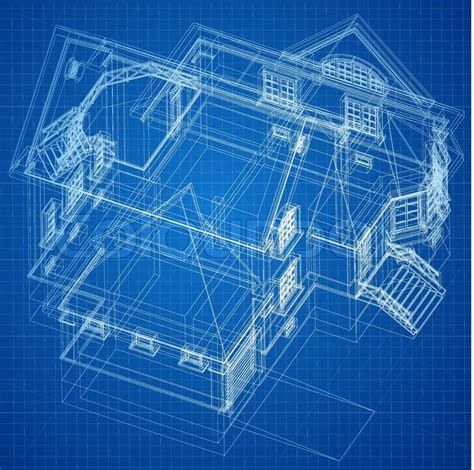 Blue Print Of House by Urban Blueprint Vector Architectural Background Stock