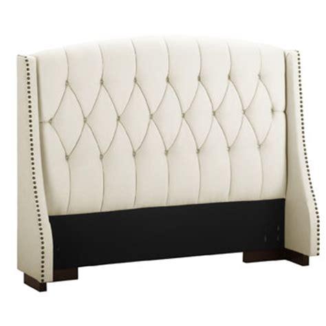 size padded headboard size ivory wingback padded upholstered headboard with nailheads shopping fuziz