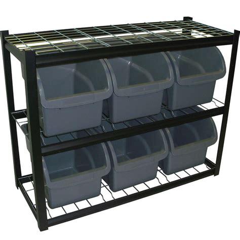 Bin Storage Unit by Six Bin Shelving Unit In Plastic Storage Bins