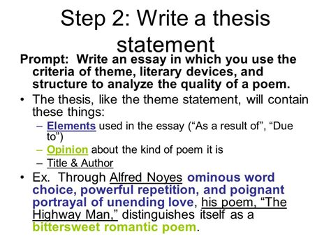 How To Write A Theme Essay by Help And Exle From The Highwayman Ppt