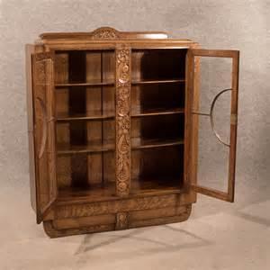 deco bookcase display cabinet cupboard oak eng