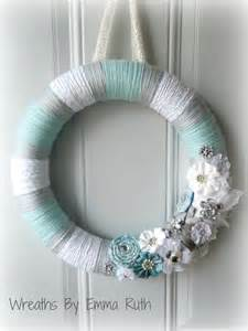 tiffany blue white and gray yarn wreath with sparkle and