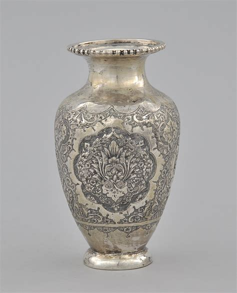 silver vase an antique persian silver vase ca early 20th century 11