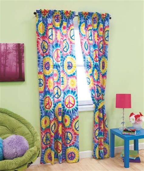 peace curtains peace sign tie dye groovy hippie kids teen dorm retro 4 pc