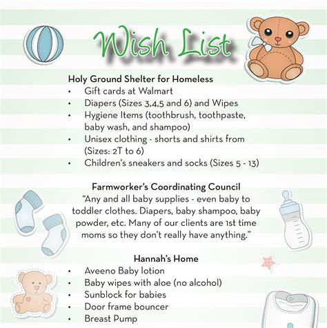 baby shower wish list sle baby shower wish list 171 extraordinary charities