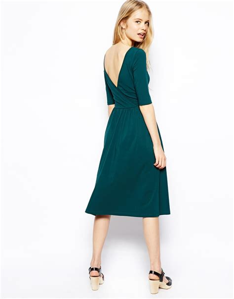 Dress Midi Vb Back lyst asos midi dress with wrap back in green