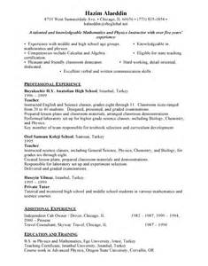 Free Resume Sles For Teachers by Resume Sle Free Resumes