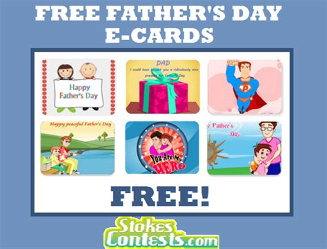 Send E Gift Card Canada - stokes contests freebie free father s day e cards