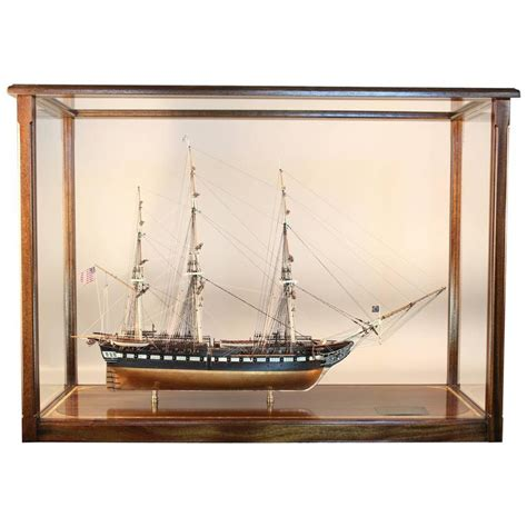 model boat glass cases uss constitution old ironsides ship model in display case