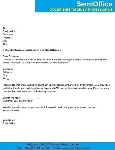 change address letter customers