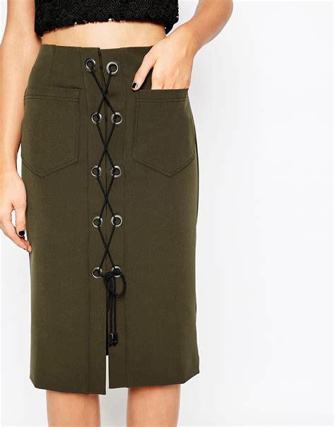 asos khaki lace up pencil skirt with eyelet detail