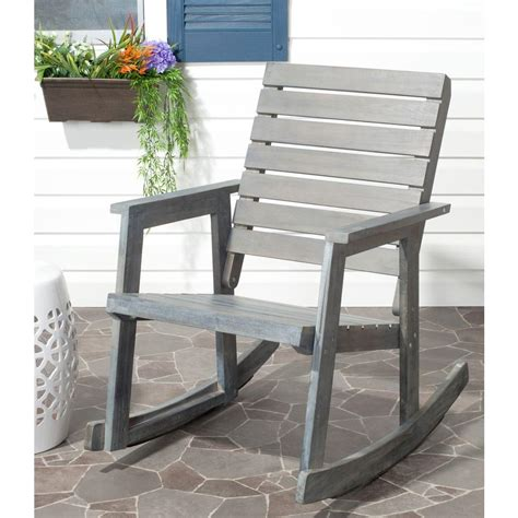 Patio Rocking Chairs Wood Safavieh Alexei Ash Gray Acacia Wood Patio Rocking Chair Fox6702a The Home Depot