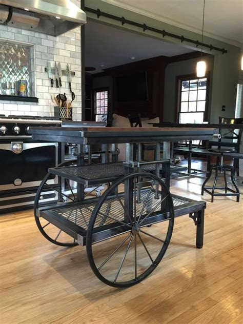 industrial style kitchen islands pretzel logic vintage factory styled industrial cart