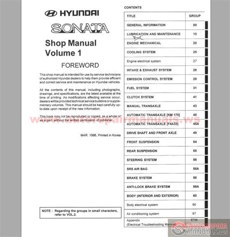 free online auto service manuals 2005 hyundai sonata interior lighting hyundai sonata 1997 service manual auto repair manual forum heavy equipment forums