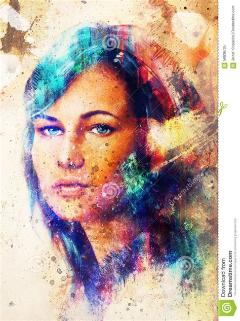 Large Flower Wall Murals young woman portrait with long dark hair and blue eye