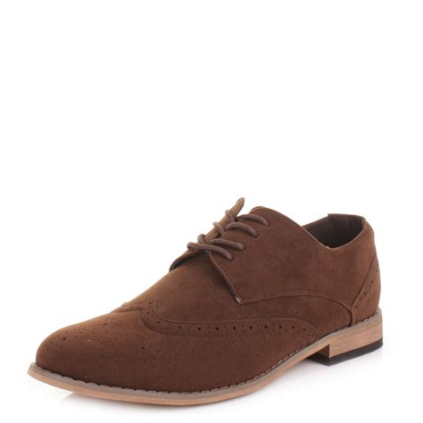 mens lace up suede style brogue smart casual shoes size 6