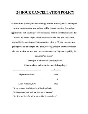 Personal Cancellation Policy Template Fillable Online Privatepersonaltrainer 24 Hour Cancellation Policy Private Personal Trainer