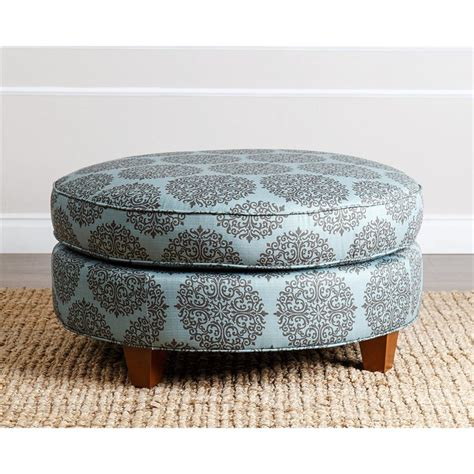 fabric ottoman round rory fabric round ottoman in floral teal br ot j014 fteal