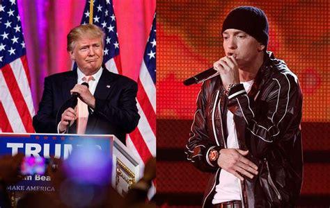 eminem vs trump watch eminem endorses trump as other rappers plan on